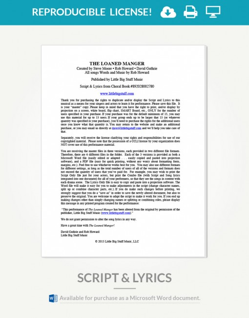 loaned-manger-script-and-lyrics-cover-page